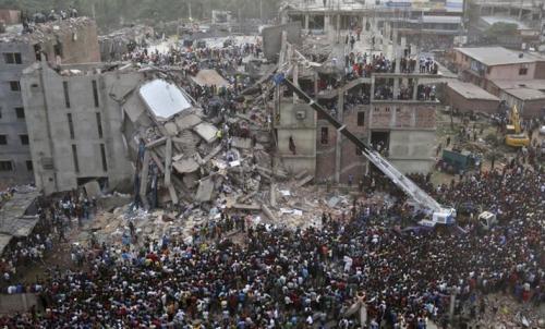 Collapsed Clothing Factory in Dhaka (image via bbc.co.uk)